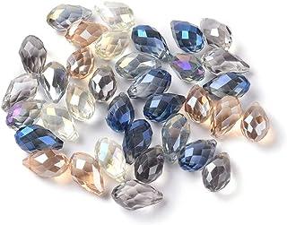 18mm Taupe Glass TEARDROP Raindrop Beads Dusky Rose Gold Metal Bezel faceted half strand 9 beads bgl1734