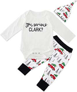 UNICOMIDEA Baby Christmas Outfit Set Adorable Infant 3/4pcs Romper Bodysuit + Long Pants with Hat Bowknot Headband 0-18 Month
