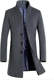 Vogstyle Herren Winter Slim Fit Wollmantel Business Überzieher Schlank Lange Windbreaker Jacken