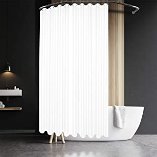 Barossa Design Extra Wide and Long Waffle Weave Shower Curtain 108 x 84 inch, 230 GSM Heavy Fabric, Water Repellent, Washable, Spa, White, 18 Holes