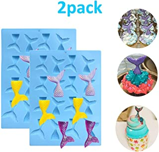 Palksky 2 Pack 16 Cavity Gummy Mermaid Tail Mold DIY Candy/Chocolate molds for Cupcake topper