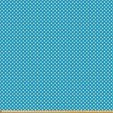 ABAKUHAUS Blau Microfaser Stoff als Meterware, Retro Polka