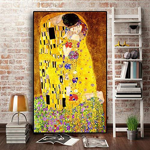 JinYiGlobal Artiste doré Gustav Klimt Baiser Peinture à l'huile Abstraite sur Toile Impression Affiche Art Moderne Mur Photos pour Salon 50x75 cm sans...