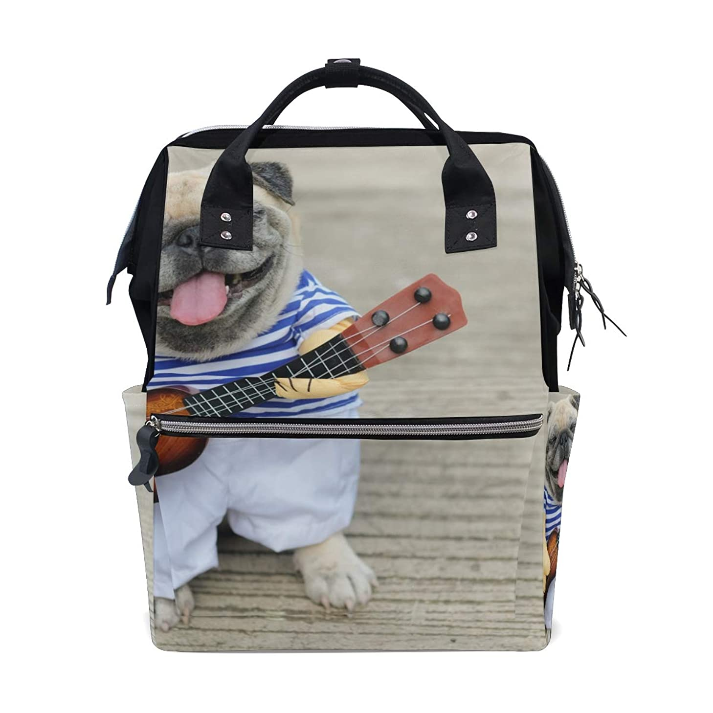 Cute Dog Playing Guitar School Backpack Large Capacity Mummy Bags Laptop Handbag Casual Travel Rucksack Satchel For Women Men Adult Teen Children