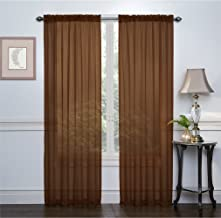 """Ruthy's Textile 2-Pack Window Curtain Sheer Panels Total Width 108""""x84"""" (Brown)"""