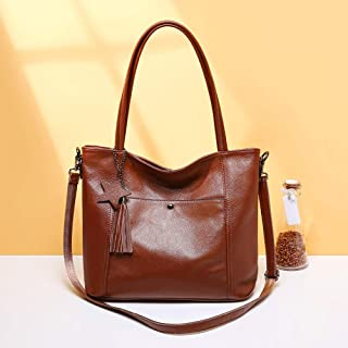 Fashion Simple Multi-Function Large Capacity Shoulder Bag Shoulder Slung Leather Handbag (Color : Brown)