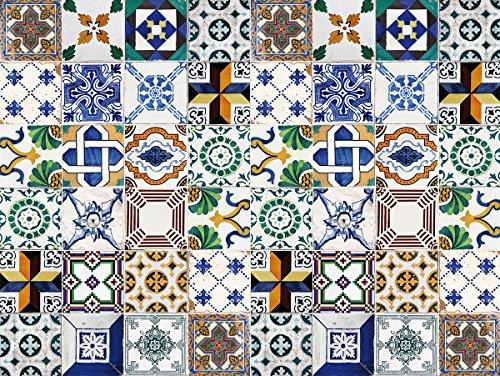 Laroom Alfombra Vinílica Infantil Diseño Ceramic Patchwork, Vinilo Antiliscante, Multicolor, 100x133 cm