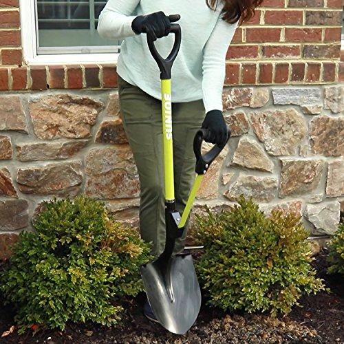 Sun Joe SJ-SHLV06 Shovelution 44-in Round Point D-Handle Strain Reducing Utility Digging Shovel w/Spring Assist Handle , Green
