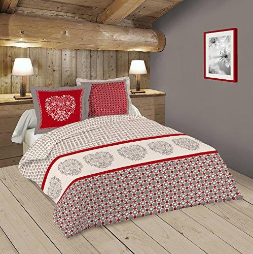 Lovely Casa Darla Housse de couette 240 x 220 cm avec 2 Taies d'oreiller 63 x 63 cm Coton Rouge