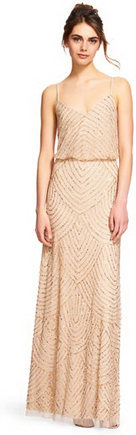 Adrianna Papell Women's Max 40% Chicago Mall OFF Long Beaded Gown Blouson