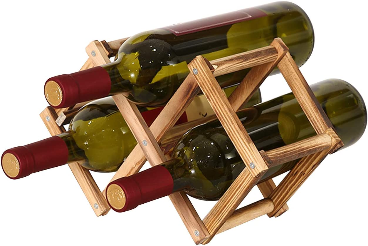 thanksky 3 Bottles Small Foldable Wine Rack Super-cheap SALENEW very popular! Wooden Countertop Ta