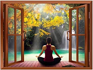 wall26 Modern Copper Window Looking Out Into a Woman Meditating by a Lake with a Waterfall - Wall Mural, Removable Sticker, Home Decor - 36x48 inches