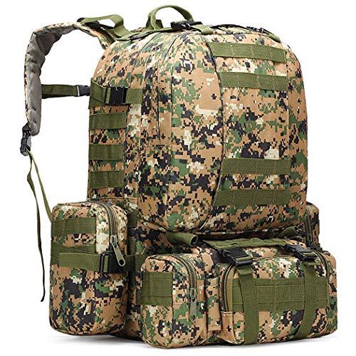 50L mochila táctica 4 en 1 Militar bolsas ejército mochila deporte al aire libre camping senderismo viaje escalada bolsa, Hombre, 9, 50 - 70L