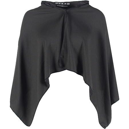 冷却 フード付き冷たいスポーツタオル 冷感 ポンチョ 熱中症対策 速乾 軽量 吸水 ブラック