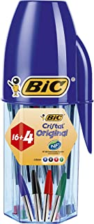 BIC Cristal Original bolígrafos punta media - colores Surtidos, Blíster de 16+4 unidades