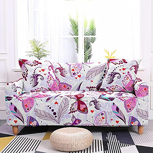 WXQY Funda de sofá elástica con Estampado de Mariposas en Color Funda de sillón elástica Funda de sofá Todo Incluido Antideslizante Funda de sofá A1 4 plazas