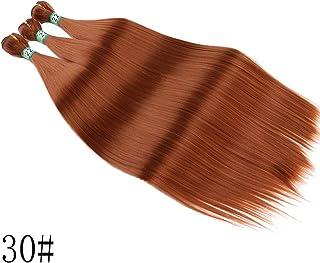 HOHYLLYA 3バンドル合成髪織りヘアエクステンション女性のための耐熱性繊維シルキーストレートヘアコンポジットヘアレースかつらロールプレイングウィッグロングとショート女性自然 (色 : ブラウン, サイズ : 14inch)