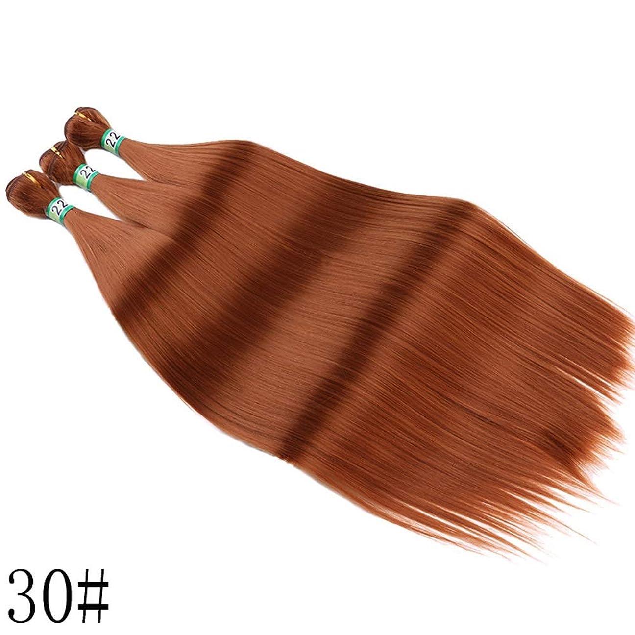 インスタンスベアリングサークルアクティビティYrattary 3バンドル合成髪織りヘアエクステンション女性のための耐熱性繊維シルキーストレートヘアコンポジットヘアレースかつらロールプレイングウィッグロングとショート女性自然 (色 : ブラウン, サイズ : 22inch)