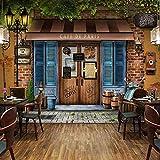Pared 3D Pvc impermeable vinilo autoadhesivo papel retro café nostálgico motocicleta café restaurante pared móvil Pared Pintado Papel tapiz 3D Decoración dormitorio Fotomural sala mural-430cm×300cm