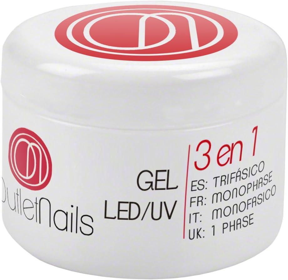 UV Gel Trifasico 30ml para uñas de gel - UV/LED Gel 3 en 1 de Outlet Nails - Viscosidad Media
