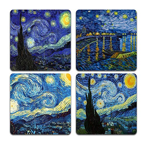 Van Gogh Style Watercolor Painting Square Coaster Set - Made of Recycled Rubber - Set of 4