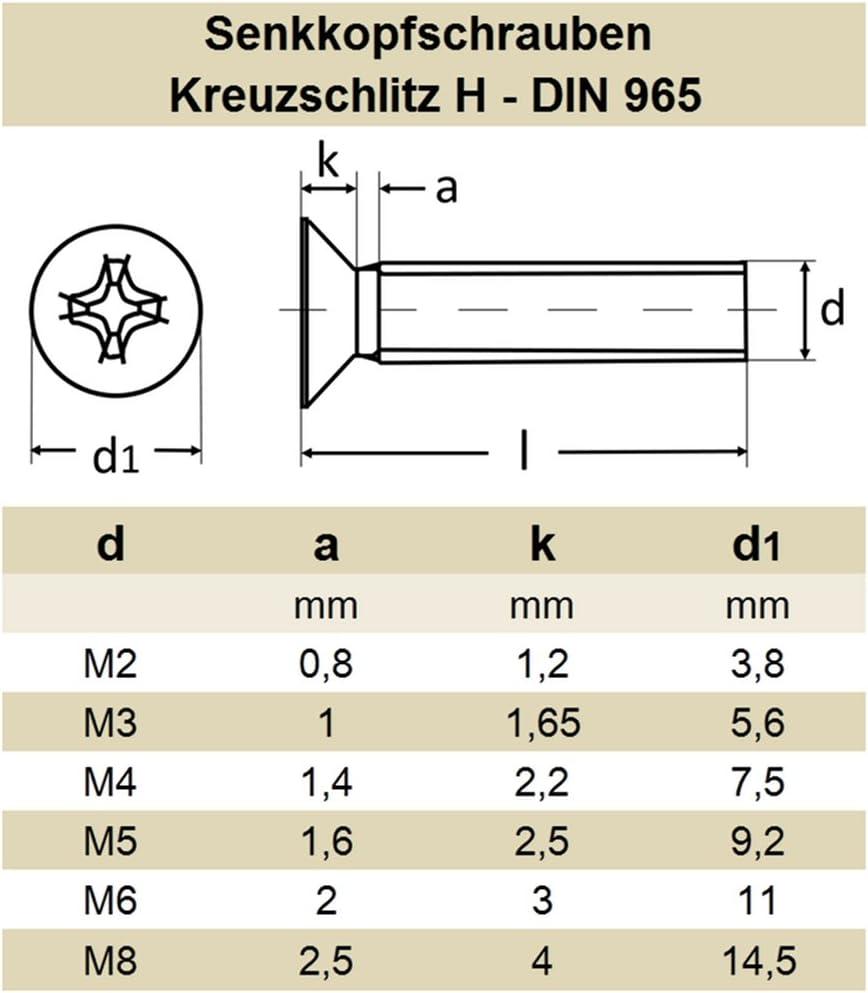 10//25 St/ück Senkkopfschrauben DIN 7991 M3//M4//M5//M6//M8//M10 Edelstahl V2A Innensechskant //// EHK-Verbindungstechnik M 8 x 70 10x