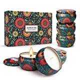 Scented Candles Set for Women Box Gift Basket Aromatherapy Soy Wax 6.5 oz Portable Travel Tin Mother's Day Birthday Gift