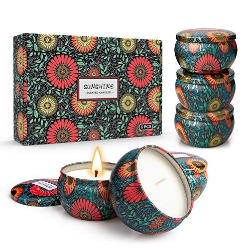 Candele aromatiche Convex Sunflower Cera di soia Candela senza fumo Set regalo di aromi (abito a sei pezzi)