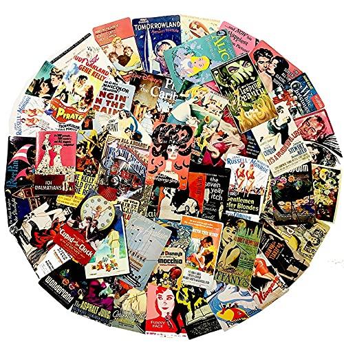 AXHZL Pegatina de póster Antiguo de Cubierta clásica para Nevera, Maleta, Libro Diario, colección de álbumes de Recortes, Libro, Pegatina de Graffiti, 45 Uds.