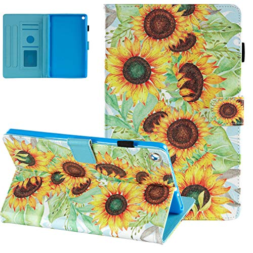 Case for Amazon Kindle Fire HD 8 Tablet (8th Gen 2018 Release), Fire HD 8 2017 2016 Cover, UGOcase Slim PU Leather Soft TPU Back Smart Flip Stand Case for Fire HD 8 2018 2017 2016, Sunflower