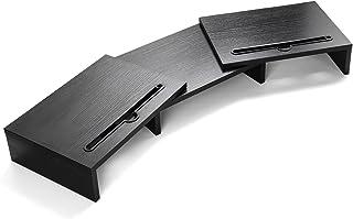 LORYERGO Support de Moniteur en bois avec longueur et angle réglables Support d'organisateur de bureau à 2 fentes fonction...