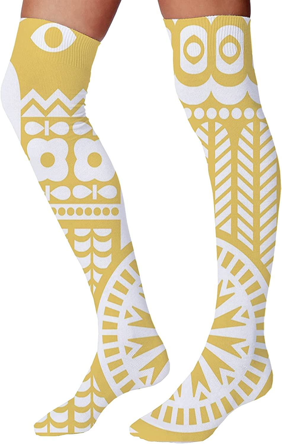 Men's and Women's Fun Socks,Abstract Bicolour Style Motif Repetitive Rounds Illustration