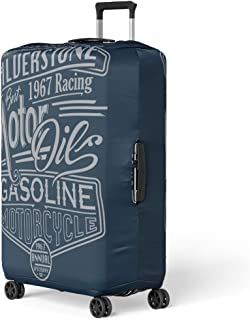 Pinbeam Luggage Cover Vintage Motor Racing Siverstone Gasoline Graphics Motorcycle Car Travel Suitcase Cover Protector Baggage Case Fits 18-22 inches