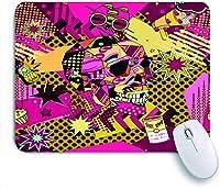 ECOMAOMI 可愛いマウスパッド 頭蓋骨の雲の星スズチェリードットボトルホーンケーキとカラフルなポップアートオブジェクト 滑り止めゴムバッキングマウスパッドノートブックコンピュータマウスマット