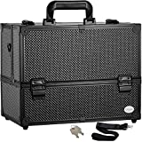Makeup Train Case Professional Adjustable - 6 Trays Cosmetic Cases Makeup Storage Organizer Box with Lock and...