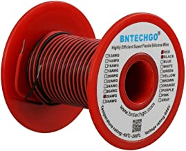 BNTECHGO 28 Gauge Silicone Wire Spool 50 feet Ultra Flexible High Temp 200 deg C 600V 28 AWG Silicone Wire 16 Strands of T...