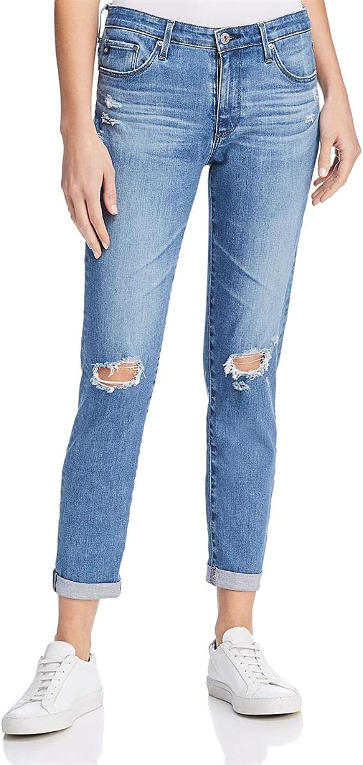 Adriano goldschmied Womens The Prima RollUp Denim Medium Wash Cigarette Jeans