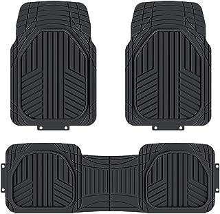 AmazonBasics 3-Piece All-Season Heavy Duty Rubber Floor Mat for Cars, SUVs and Trucks, Black