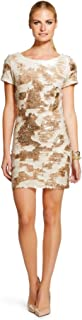 Renn Gold and Blush Sequin Short Sleeve Above The Knee Dress