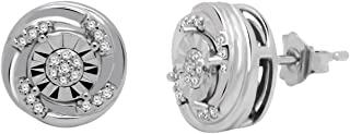 0.09 Ct Round Cut Natural Diamond Solid 10K White Gold Swirl Stud Earrings For Women