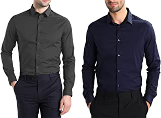 DOM Cotton Solid Casual Wear Shirt for Men's - Combo (Pack of 2 Shirts)