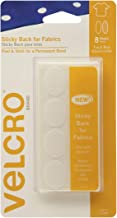 """VELCRO Brand - Sticky Back for Fabrics: No Sewing Needed - 1"""" x 3/4"""" Ovals, 8 Sets - White"""