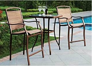 3 PC HIGH TOP BISTRO TABLE CHAIRS SET ~ SLINGBACK MATERIAL 2015