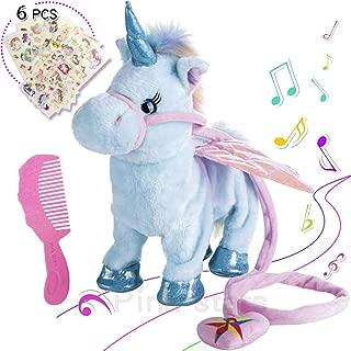 Electric Unicorn Pet Kids Leash Plush Wings Stuffed Animal Remote Control Remotely Intelligent Toy Blue, Sing Song Walk Twisting Super Cute Ass Unicorn Child Boy Baby Accompany Sleeping Toys