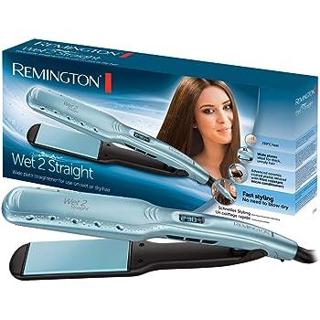 Remington Piastra Larga Wet 2 Straight, Piastre in Ceramica, Utilizzo su capelli Asciutti o Bagnati, Display LCD, da 140 a 230 Gradi, 110x45, S7350