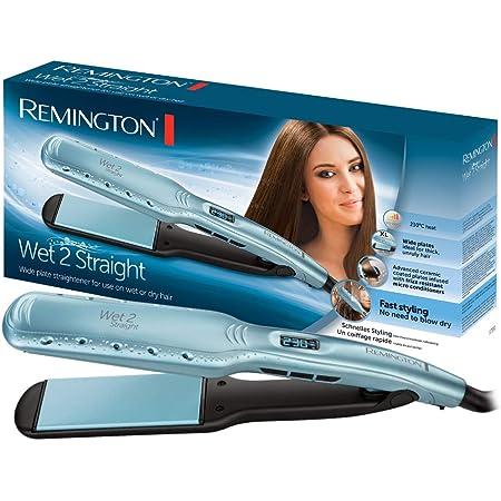 Remington Wet 2 Straight Plancha de Pelo - Cerámica, Digital, Cabello Seco y Húmedo, Resultados Profesionales, Azul - S7350