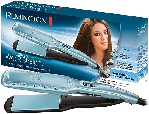Remington Piastra Larga Wet 2 Straight, Piastre in Ceramica, Utilizzo su capelli Asciutti o Bagnati, Display LCD, da ...
