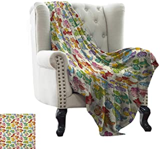 branddy Throw Blanket Indigo,Modern Design Floral Image Leaves Rose Petals Inspired Design Art Print, Navy Blue and White 80