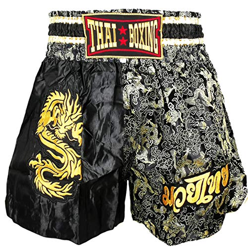 Kurop Boxing Muay Thai Shorts Trunks MMA Martial Arts Kickboxing Fight Sport Clothing (Dragon Black, M)