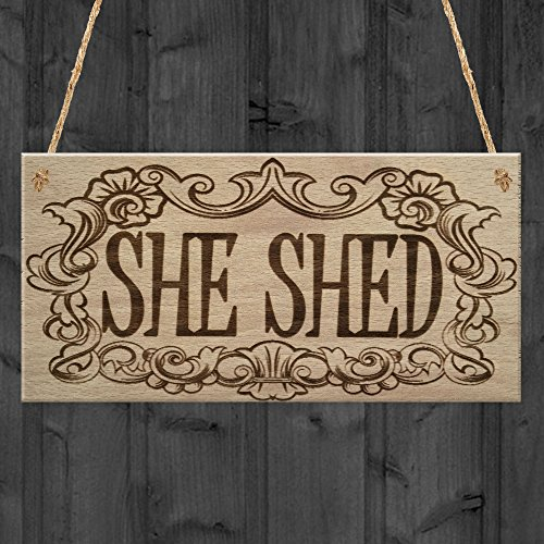 RED OCEAN She Shed Woman Cave Garden Mum Sister Friendship Hanging Plaque Home Gift Sign